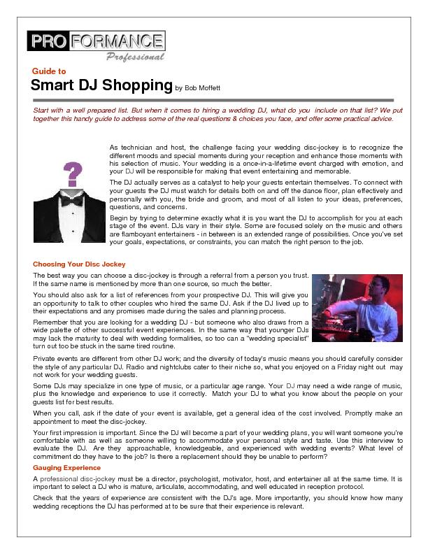 Guide to Smart DJ Shopping by Bob Moffett