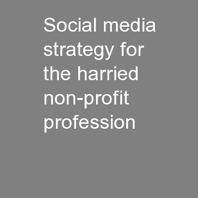 Social media strategy for the harried non-profit profession