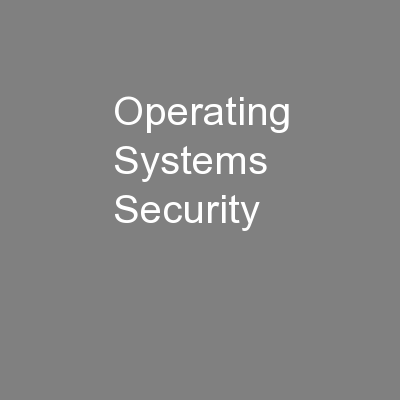 Operating Systems Security