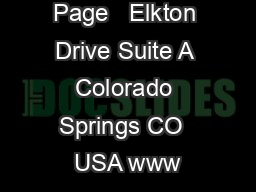 Page   Elkton Drive Suite A Colorado Springs CO  USA www