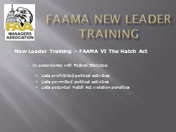 FAAMA New Leader Training