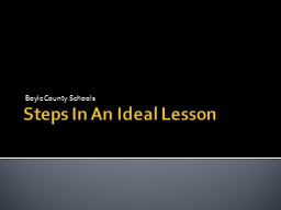 Steps In An Ideal Lesson PowerPoint PPT Presentation