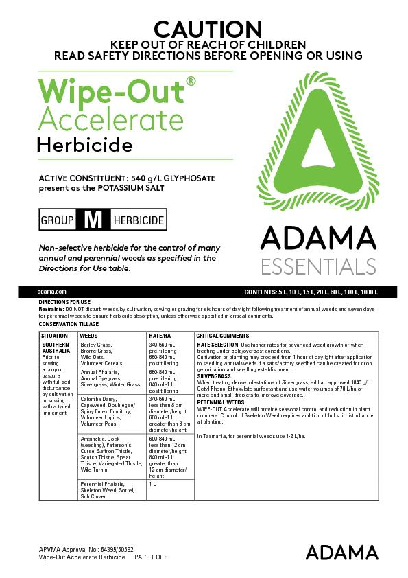 Wipe-Out Accelerate Herbicide      PAGE 1 OF 8