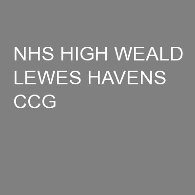 NHS HIGH WEALD LEWES HAVENS CCG
