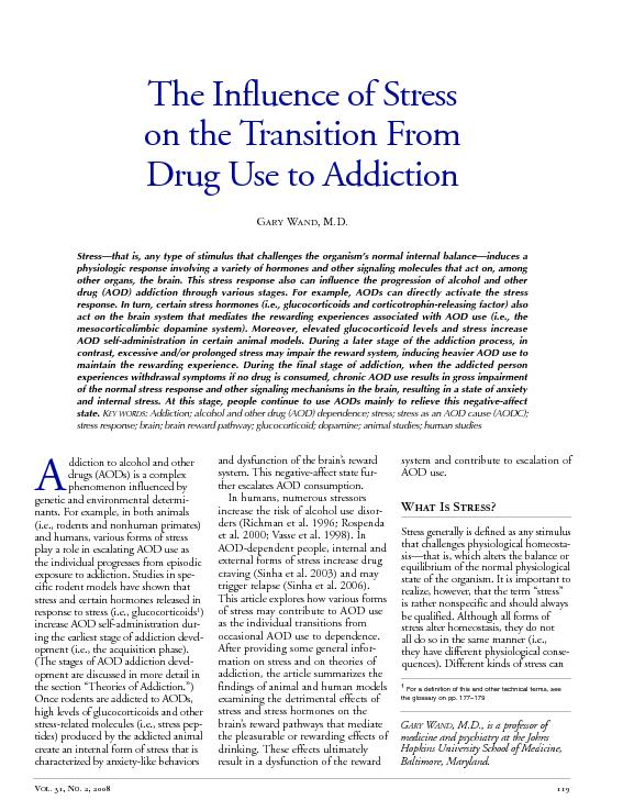 The Influence of Stress on the Transition From Drug Use to Addiction