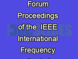 Jointly with the th European Frequency and Time Forum Proceedings of the  IEEE International Frequency Control Symposium and PDA Exhibition U