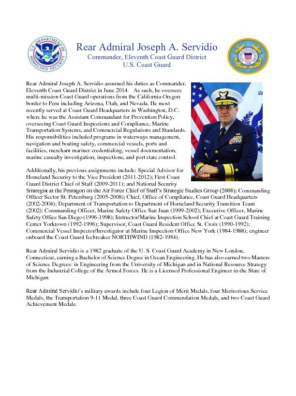 Rear Admiral Joseph A. Servidio assumed his duties as Commander,  ...