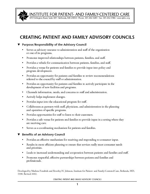 CREATING PATIENT AND FAMILY ADVISORY COUNCILSCREATING PATIENT AND FAMI
