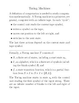 Turing Machines A denition of computation is needed to study computa tion mathematically