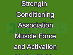 Journal of Strength and Conditioning Research     National Strength  Conditioning Association Muscle Force and Activation Under Stable and Unstable Conditions DAVID G