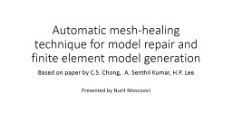 Automatic mesh-healing technique for model repair and finit