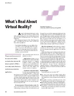 s usual with infant technologies realiz ing the early dreams for virtual reality VR and harnessing it to real work has taken longer than the initial wild hype predicted