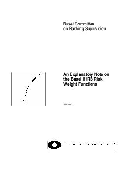 Basel Committee on Banking Supervision An Explanatory Note on the Basel II IRB Risk Weight Functions July   Requests for copies of publications or for additionschanges to the mailing list should be s