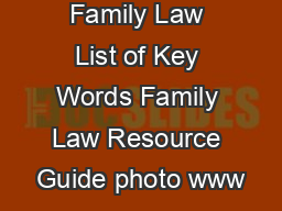 Family Law List of Key Words Family Law Resource Guide photo www