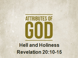 Hell and Holiness