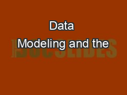 Data Modeling and the