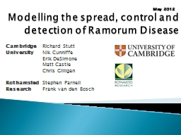 Modelling the spread, control and detection of