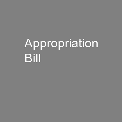 Appropriation Bill
