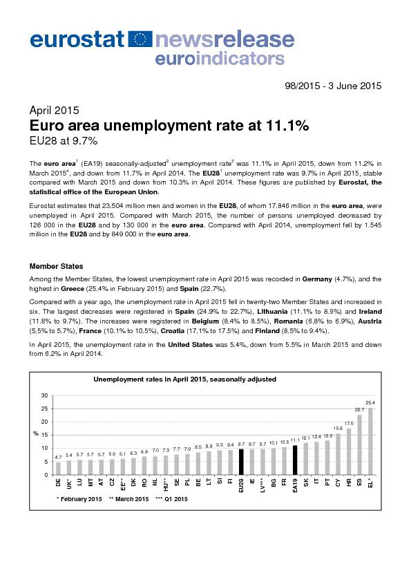 euro area (EA19) seasonally-adjusted unemployment rate was 11.1% in Ap