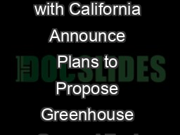 Ofce of Transportation and Air Quality EPAF July  EPA and NHTSA in Coordination with California Announce Plans to Propose Greenhouse Gas and Fuel Economy Standards for Passenger Cars and Light Trucks PowerPoint PPT Presentation