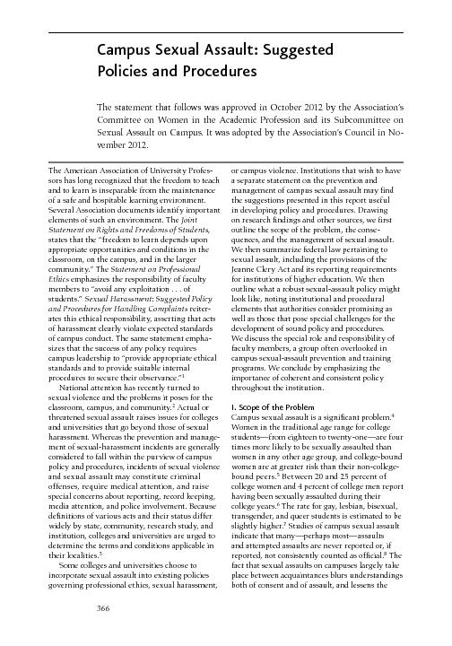 Campus Sexual Assault: Suggested Policies and ProceduresThe statement