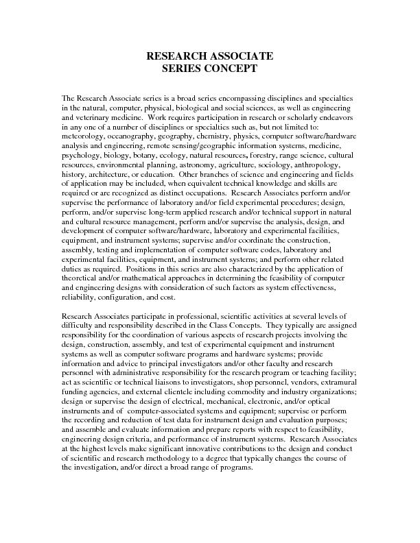 RESEARCH ASSOCIATE SERIES CONCEPT   The Research Associate series is a