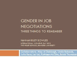 Gender in job negotiations