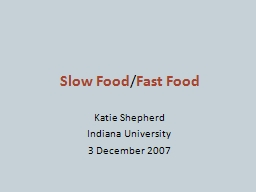 Slow Food PowerPoint PPT Presentation