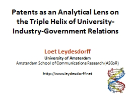 Patents as an Analytical Lens on