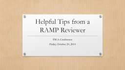 Helpful Tips from a RAMP Reviewer