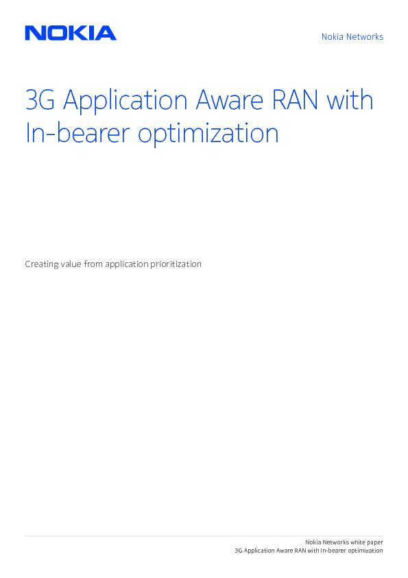 3G Application Aware RAN with