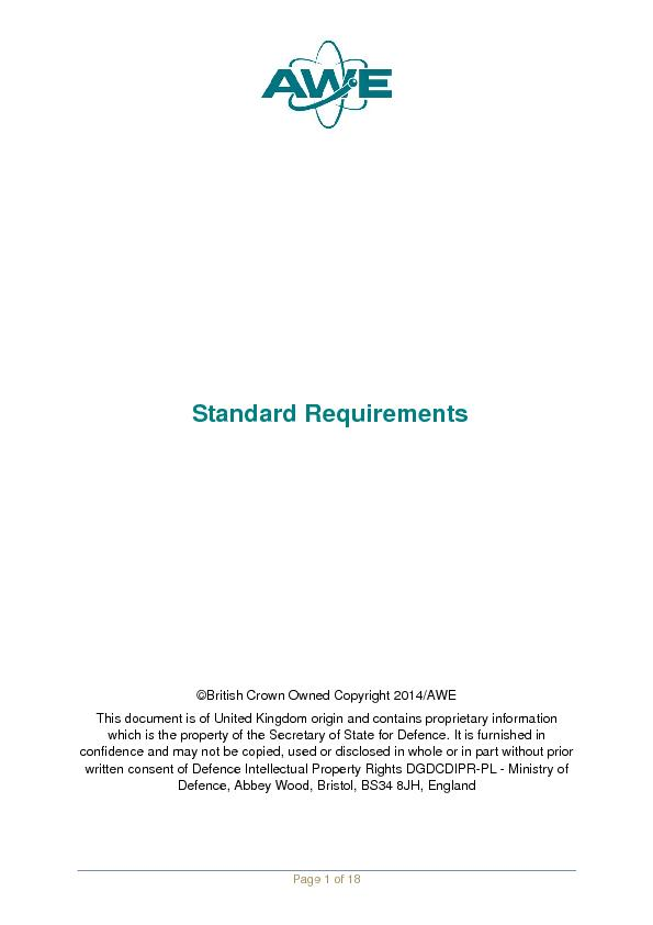 Standard Requirementsown Owned Copyright 2014/AWE Secretary of State f