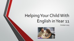 Helping Your Child With English in Year 11