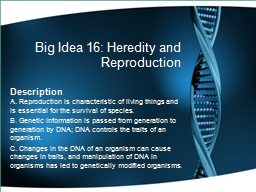 Big Idea 16: Heredity and Reproduction