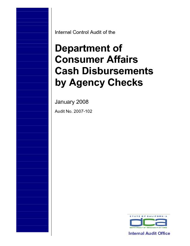Internal Control Audit of the Department of Consumer Affairs by Agency