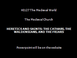 HI127 The Medieval World