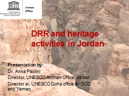 DRR and heritage activities in Jordan