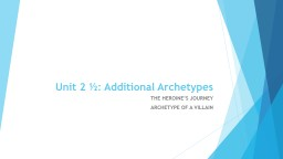 Unit 2 ½: Additional Archetypes PowerPoint PPT Presentation