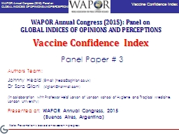 Vaccine Confidence Index PowerPoint PPT Presentation