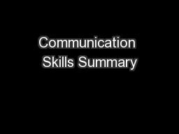 Communication Skills Summary