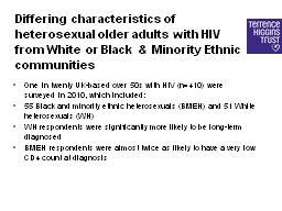 Differing characteristics of heterosexual older adults with