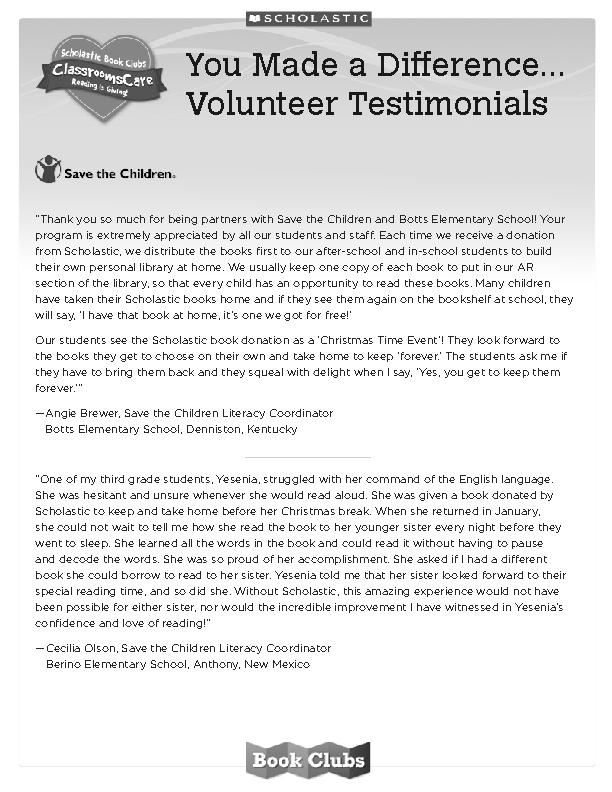 You Made a Difference... Volunteer Testimonials