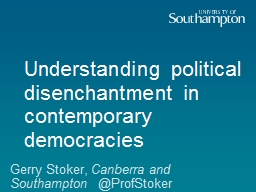Understanding political disenchantment in contemporary demo