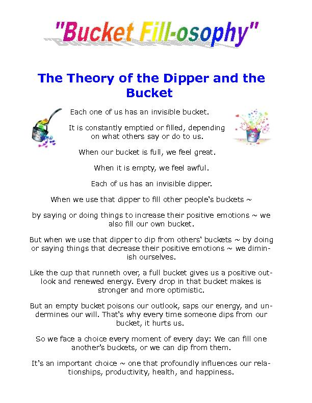 reflective assessment bucket and dipper theory The bucket and dipper theory is very fundamental in informing and enhancing interpersonal relations it fosters the development of personal skills and.