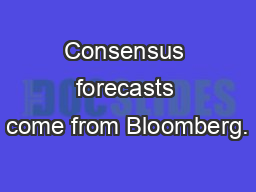 Consensus forecasts come from Bloomberg.