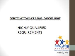 EFFECTIVE TEACHERS AND LEADERS UNIT