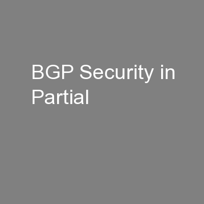 BGP Security in Partial