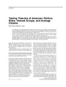 Testing Theories of American Politics Elites Interest Groups and Average Citizens Martin Gilens and Benjamin I