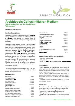 Please refer disclaimer Overleaf Page 1 of 3   Arabidopsis Callus Init