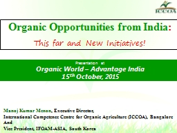 Organic Opportunities from India PowerPoint PPT Presentation